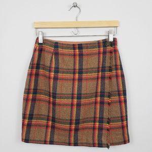 GAP Wool Blend Plaid Wrap Skirt